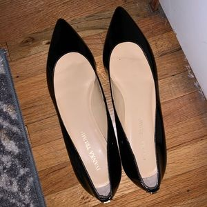 Ivanka Trump Pointed Toe Black Leather Flats
